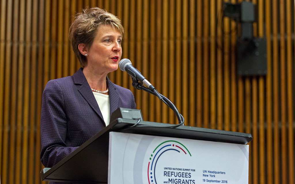Federal Councillor Simonetta Sommaruga speaks at the plenary meeting of the UN Summit for Refugees and Migrants